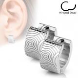 """Kirurginteräs korvakorut """"Hoop Earring with Brushed Steel Grooved Spirals"""""""