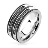 "Miesten Terässormus ""Double Cable Inlay Black Striped Steel Ring"""