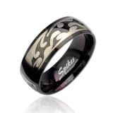 """Miesten Terässormus """"Tribal Engraving Steel Black Ring"""""""