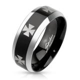 "Miesten Terässormus ""Iron Cross Steel Black Ring"""