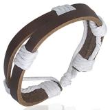 "Nahkaranneke ""Fashion Double White Wrap Rope Adjustable Leather Bracelet"""