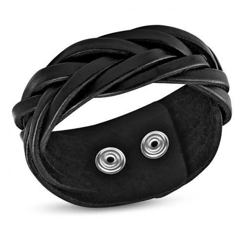 "Nahkaranneke ""Black Braided Leather Snap Bracelet"""