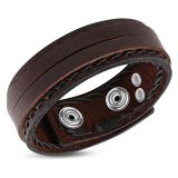 "Nahkaranneke ""Brown Double Wrap Snap Bracelet"""