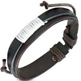 "Nahkaranneke ""Black / Brown Leather"", säädettävä pituus"