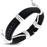 """Nahkaranneke """"Black Braided Leather"""", säädettävä pituus"""