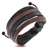 """Nahkaranneke """"Black & Brown Multi Wrap Leather"""", säädettävä pituus"""
