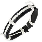 """Nahkaranneke """"Black / White Leather"""", säädettävä pituus"""