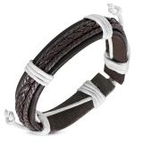 "Nahkaranneke ""Brown Braided Leather"", säädettävä pituus"
