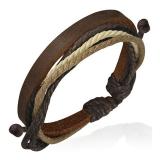 "Nahkaranneke ""Brown Wrap Rope Leather"", säädettävä pituus"