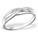 "Hopeasormus Zirkoneilla ""Silver Twisted Ring with Cubic Zirconia"""