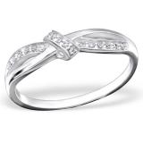 """Hopeasormus Zirkoneilla """"Silver Knot Ring with Cubic Zirconia"""""""
