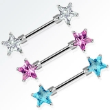 "Nännikoru ""Double Front Facing Star CZ Prongs 316L Surgical Steel Nipple Bar """
