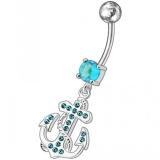 "Napakoru ""Fancy Jeweled Anchor Belly Ring"""