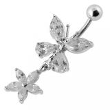 "Napakoru ""Moving Jeweled Butterfly Designed Navel Ring"""