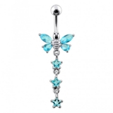 """Napakoru """"Butterfly With Star Dangling Belly Ring"""""""