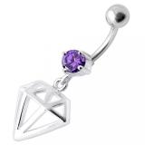 "Napakoru ""Fancy Jeweled Diamond Cut Dangling Navel Ring"""