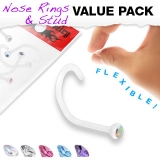 "5 kpl Nenäkoruja ""Value Pack of Assorted Clear BioFlex Nose Screw with Gems"""