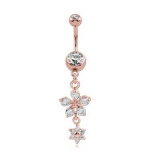 "Napakoru ""Rose gold double swarovski crystals with flower"""