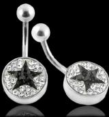 "Napakoru ""Black Star Crystal Logo Belly Ring"""