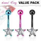 """3 Kpl Napakorupaketti """"Neon Color Star CZ Prong Navel Ring"""""""
