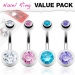 "4 Kpl Napakorupaketti ""Double Gem Ball Navel Ring"""