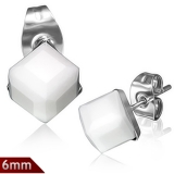 "316L Kirurginteräs ""6mm Stud Earrings w/ Cube White Alabaster CZ"""
