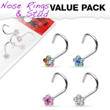 "4 kpl Nenäkoruja ""Value Pack of Assorted 316L Surgical Steel 6-Gem Flower Nose Screw"""