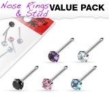 "5 kpl Nenäkoruja ""Value Pack of Assorted 316L Surgical Steel Prong Set Gem Nose Bone"""