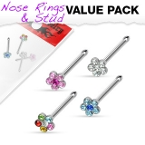 "4 kpl Nenäkoruja ""Value Pack of Assorted 316L Surgical Steel Flower Multi-Gem Nose Stud"""