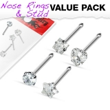 "4 kpl Nenäkoruja ""Value Pack of Assorted Clear Prong Set CZ Gem Nose Bones"""