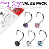 "5 kpl Nenäkoruja ""Value Pack of Assorted 316L Surgical Steel Prong Set Gem Nose Screw """