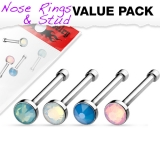 "4 kpl Nenäkoruja ""4 Pcs Value Pack of Assorted Flat Top Opalite Stone Nose Bone"""