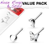 "3 kpl Nenäkoruja ""3 Pcs Value Pack of Assorted .925 Sterling Silver Nose Stud"""