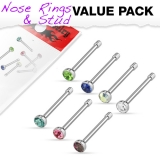 "7 kpl Nenäkoruja ""7 Pcs Value Pack of Assorted 316L Steel 2mm CZ Nose Bone Studs"""