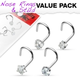 "4 kpl Nenäkoruja ""Value Pack Clear Prong Set CZ Gem 316L Surgical Steel Nose Screw"""