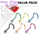 "6 kpl Nenäkoruja ""Value Pack of 316L Surgical Steel Gem"""