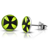 7mm Stainless Steel Iron Cross Neo Green Circle Stud Earrings