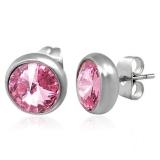 """8mm Stainless Steel Bezel-Set Stud Earrings """"Pink"""""""