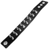 "Nahkainen Niittiranneke ""Row of Cone Spikes Snap Wristband Bracelet"""