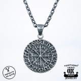 925-Hopea Vegvisir Riimukompassi-Riipus, Northern Viking Jewelry