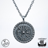 Northern Viking Jewelry® 925-Hopea Vegvisir-Riipus