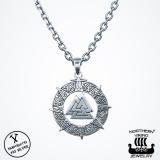 Northern Viking Jewelry® 925-Hopea Valknut-Riipus