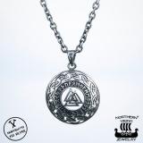 Northern Viking Jewelry® 925-Hopea Riimu Valknut-Riipus