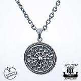 Northern Viking Jewelry® 925-Hopeariipus Black Sun