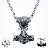 Northern Viking Jewelry® 925-Hopeariipus Goat Thorin Vasara