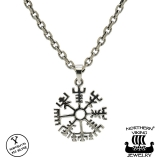 "Northern Viking Jewelry® 925-Hopeariipus ""Silver Vegvisir"""