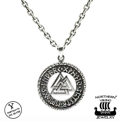 "Northern Viking Jewelry® 925-Hopeariipus ""Valknut Riimukiekko"