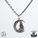 "Northern Viking Jewelry® 925-Hopeariipus ""Moon Wolf"""