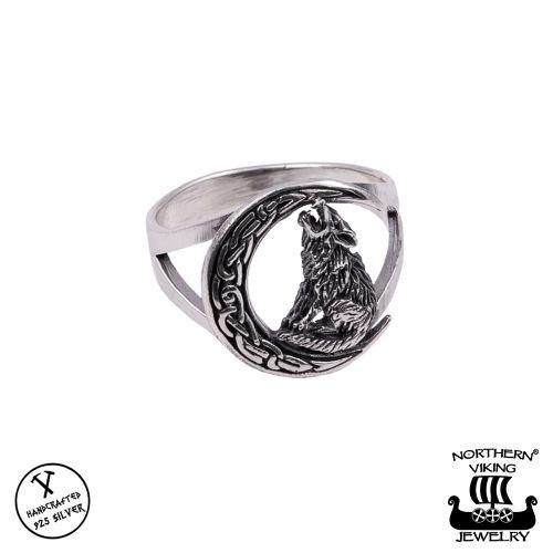 "Northern Viking Jewelry® Naisten Hopeasormus ""Moon Wolf"""