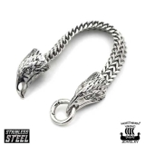"Northern Viking Jewelry-Rannekoru ""Steel Raven Bracelet"""